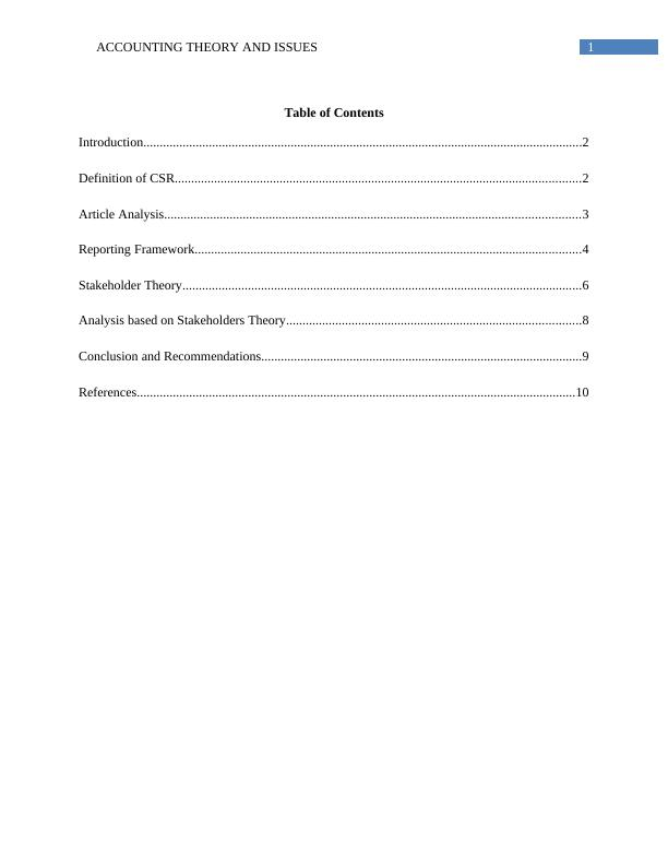 ACC706 Accounting Theory and Issues - Assignment