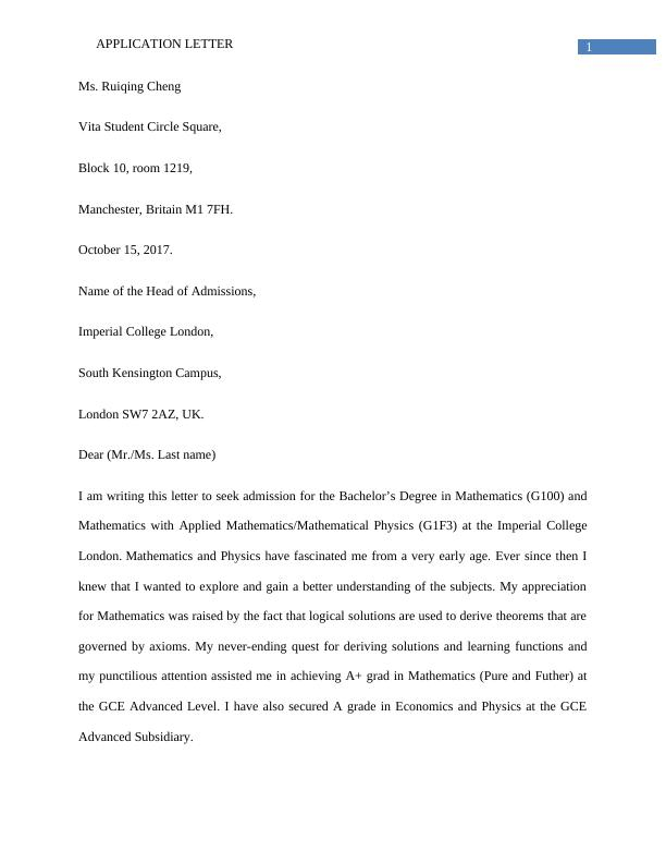 Statement of Purpose (SOP) Writing Assignment