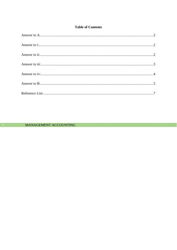 Management  Accounting  :  Sample  Assignment PDF