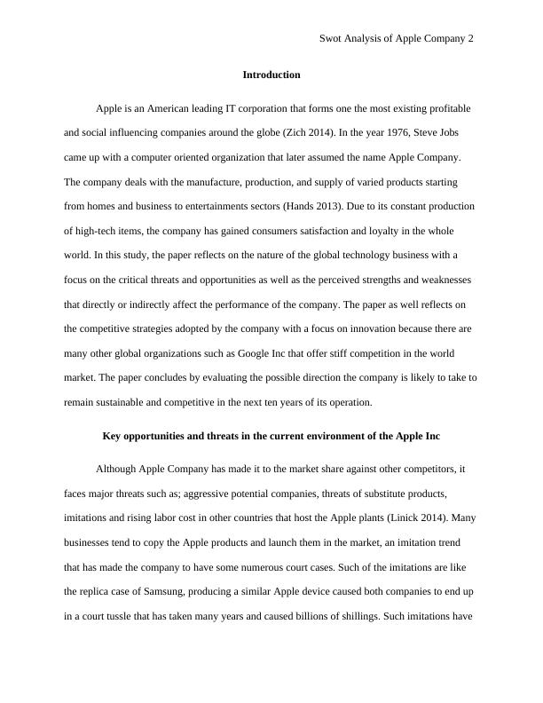 Swot Analysis Of Apple Company | Paper