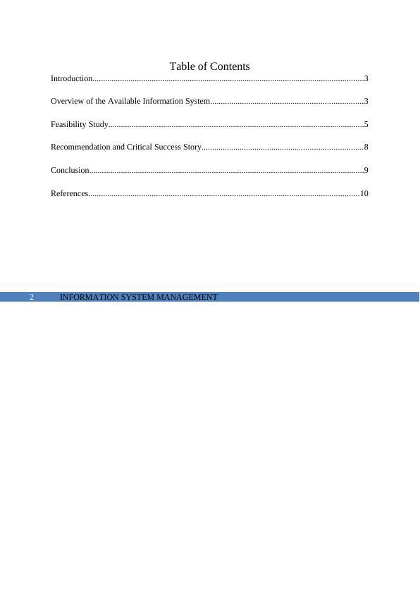 Information System Management Report