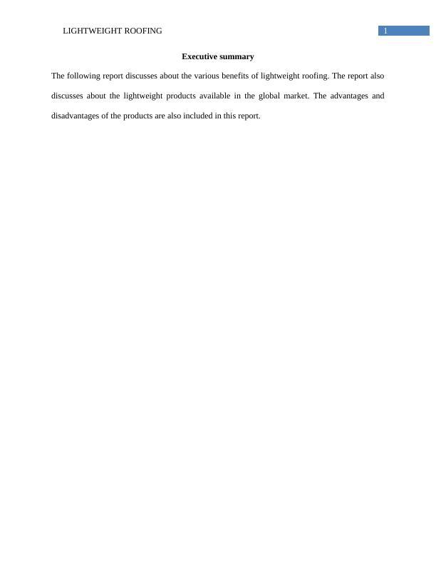Lightweight Roofing Technique   Report