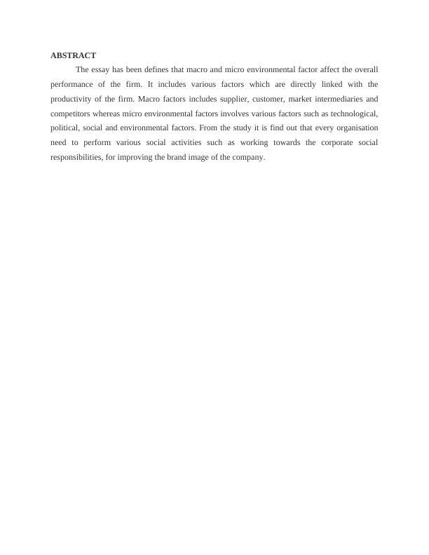 Macro and Micro Environmental Factor: Essay