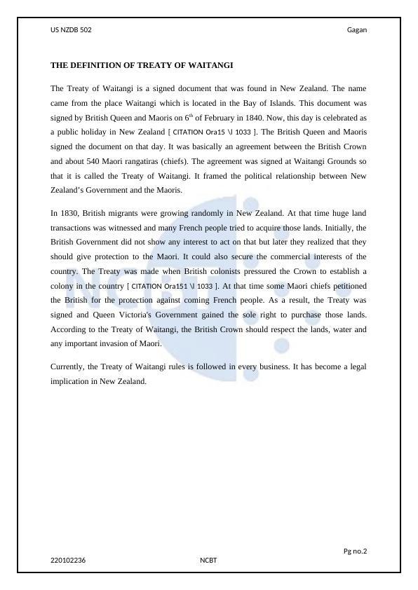 Treaty of Waitangi Assignment
