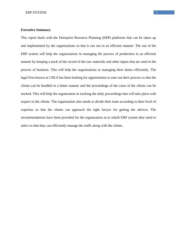 Report on Enterprise Resource Planning (ERP) platform