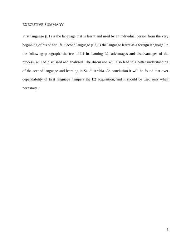 Assignment on Language Learning: Role of L1