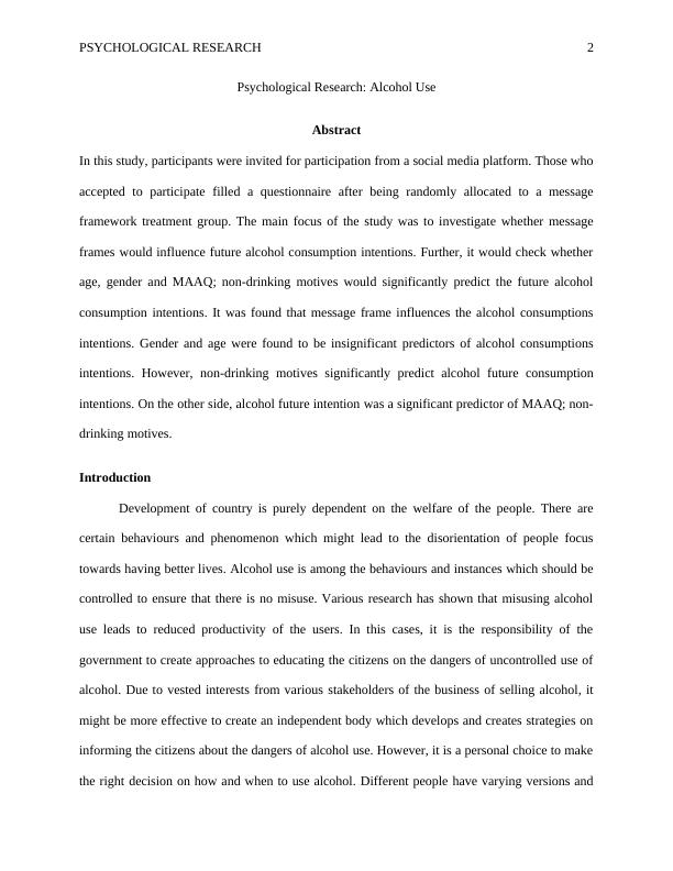 Psychological Research Assignment PDF