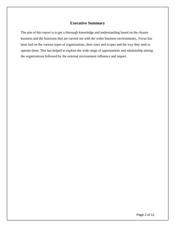 Business and the Business Environment :  Assignment Sample
