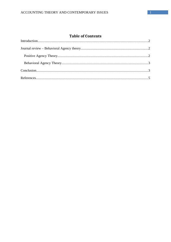 Accounting Theory and Contemporary Issues - Assignment