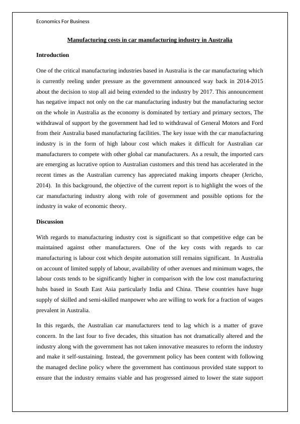 HI5003: Economics For Business