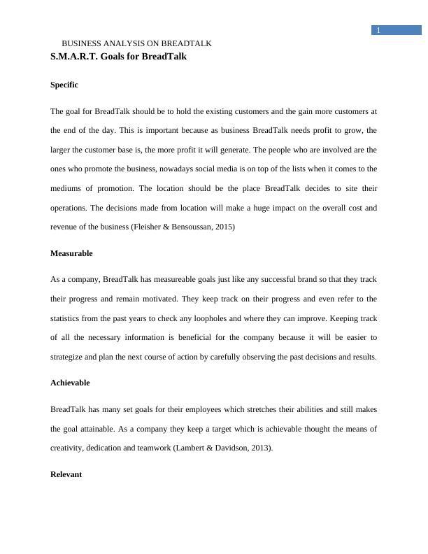 Business Analysis on BreadTalk