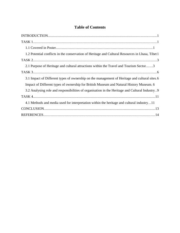 Heritage and Cultural Tourism Management Assignment (Solved)