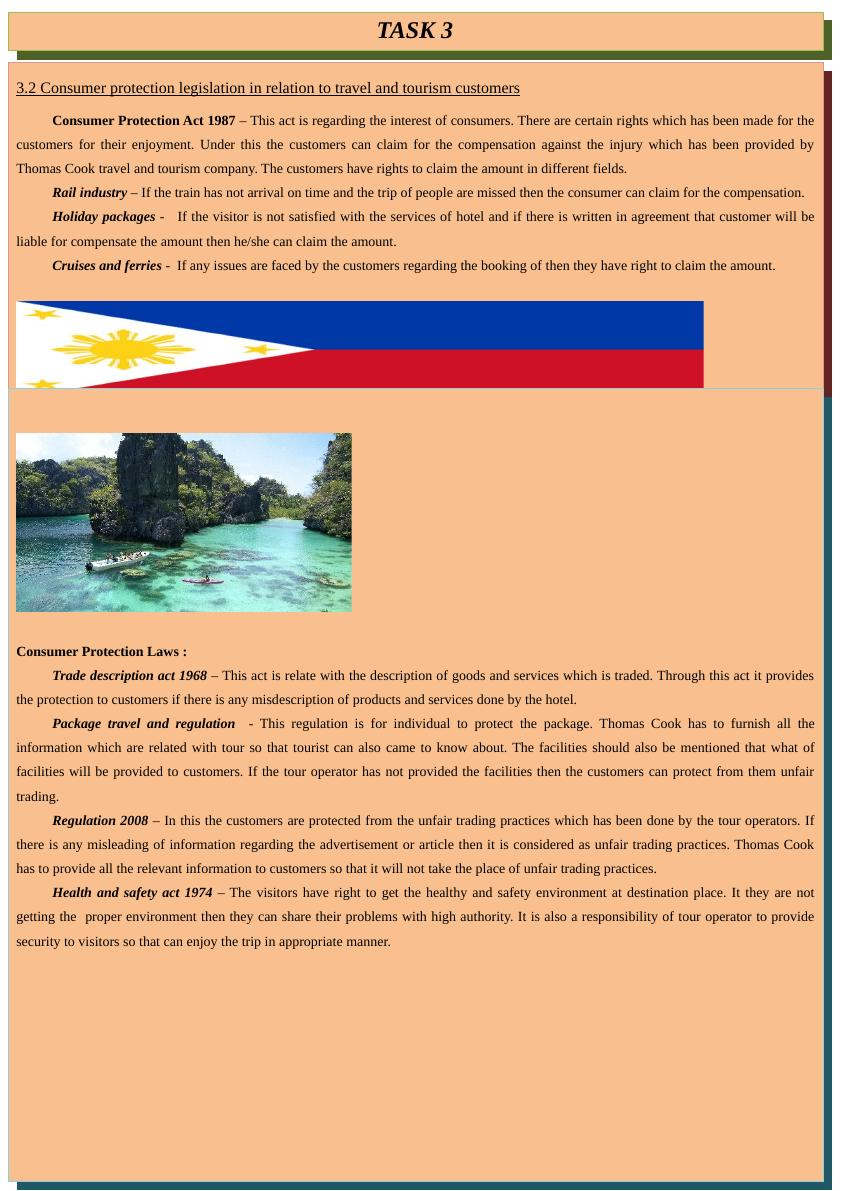 Consumer Protection Legislation in Travel and Tourism - Report