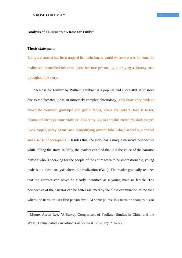 Analysis of Faulkner's A Rose for Emily