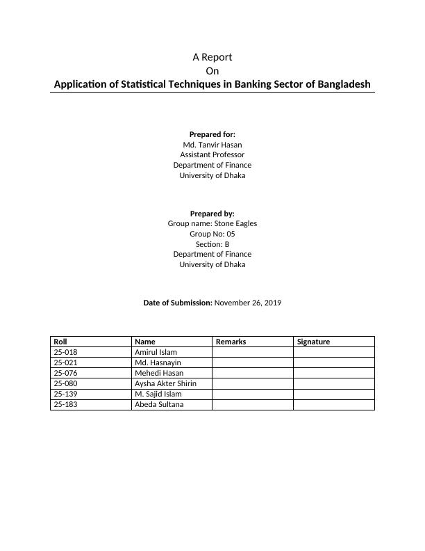 Statistical Techniques in Banking Sector Doc