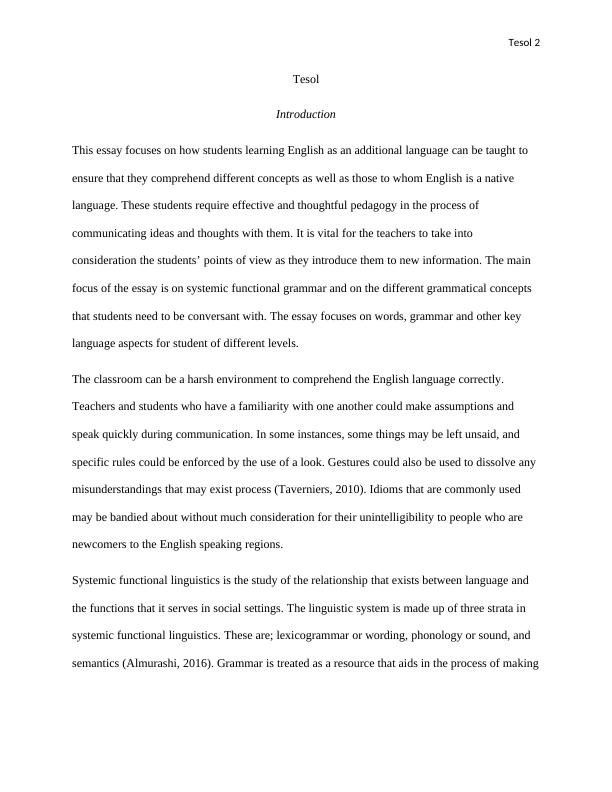 TESOL English Teaching Essay
