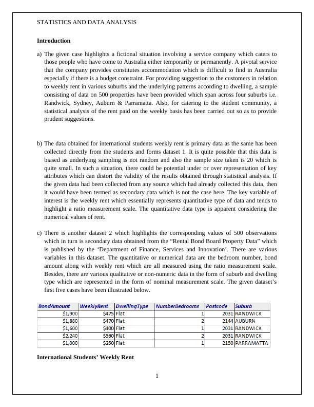 Statistics & Data Analysis : Assignment