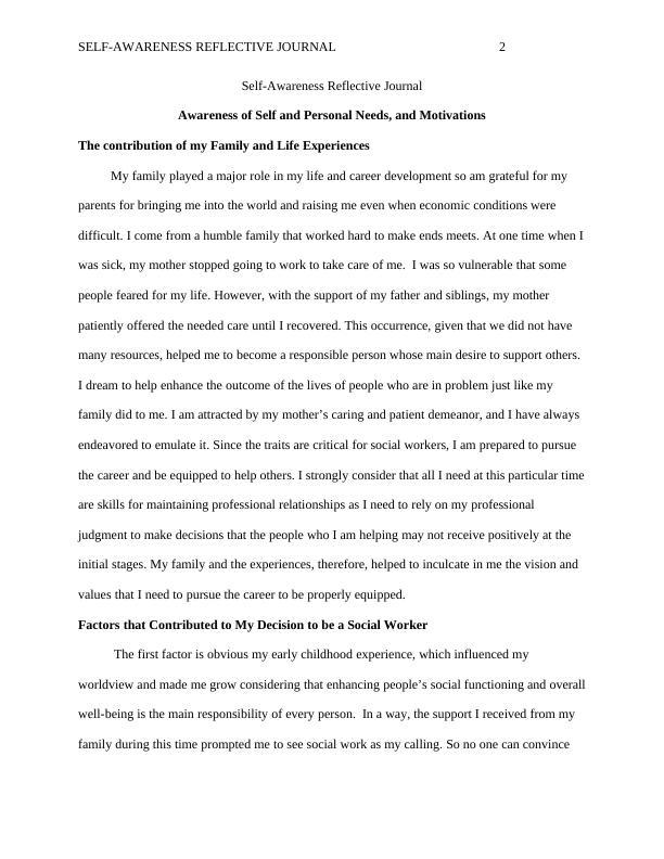 Self-Awareness Reflective Journal