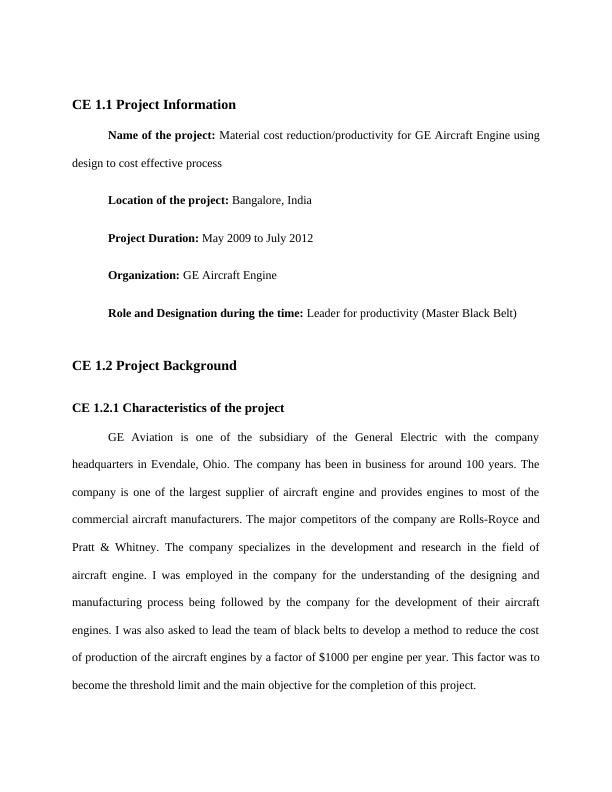 Project on GE Aircraft Engine Role and Designation