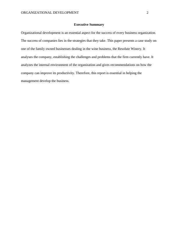 Organizational Development Paper | Resolute Winery