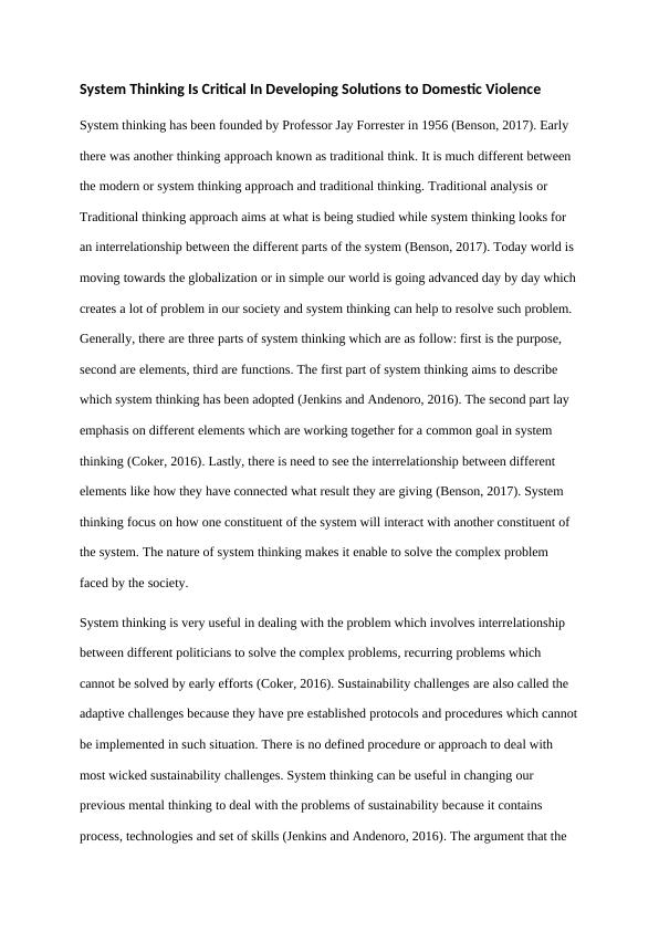 Essay on System Thinking Approach