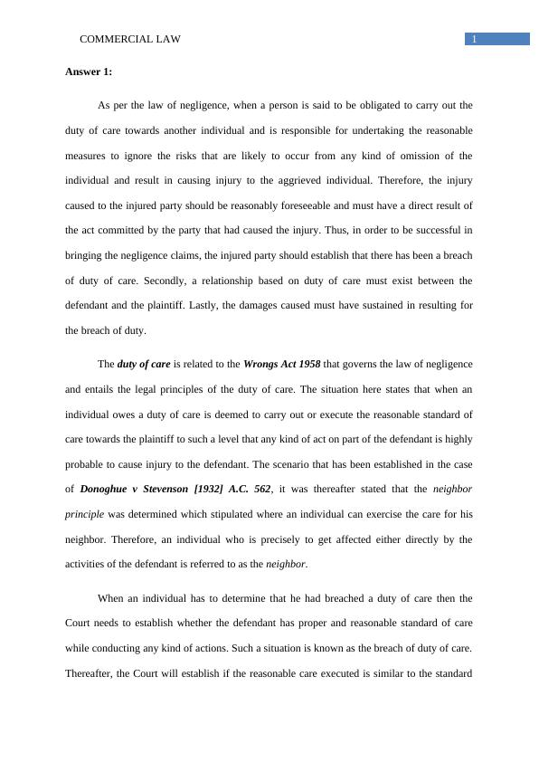 (Solution) Commercial Law - Assignment