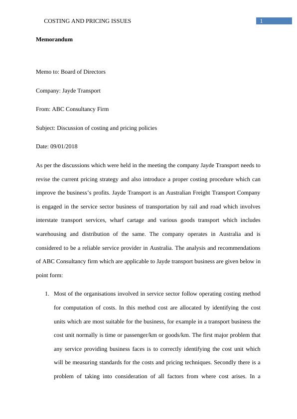 ACC 305 Assignment on Coasting and Pricing Issues