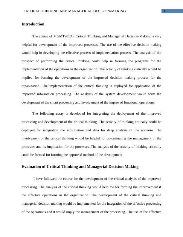 Assignment on Critical Thinking and Managerial Decision-Making