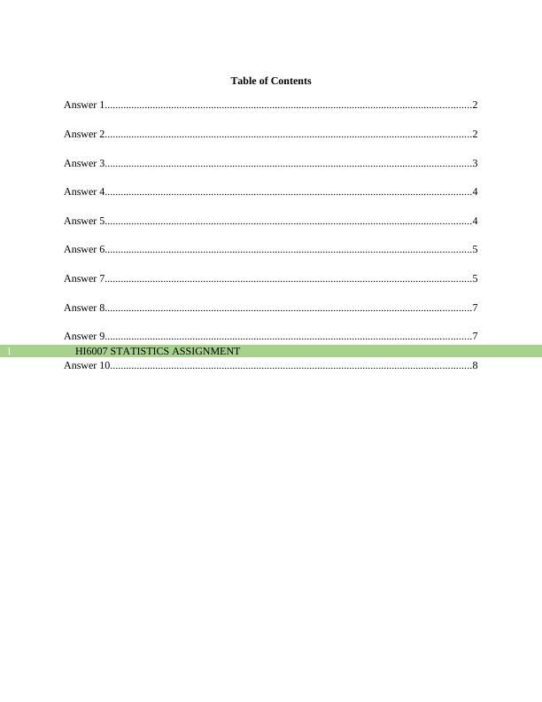 HI6007 Assignment on Statistics