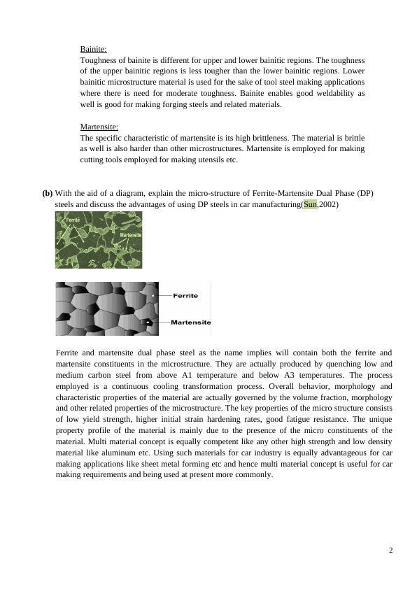 Pearlite, Bainite and Martensite in Carbon Steel - Report