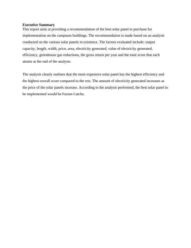 Report on Solar Panel