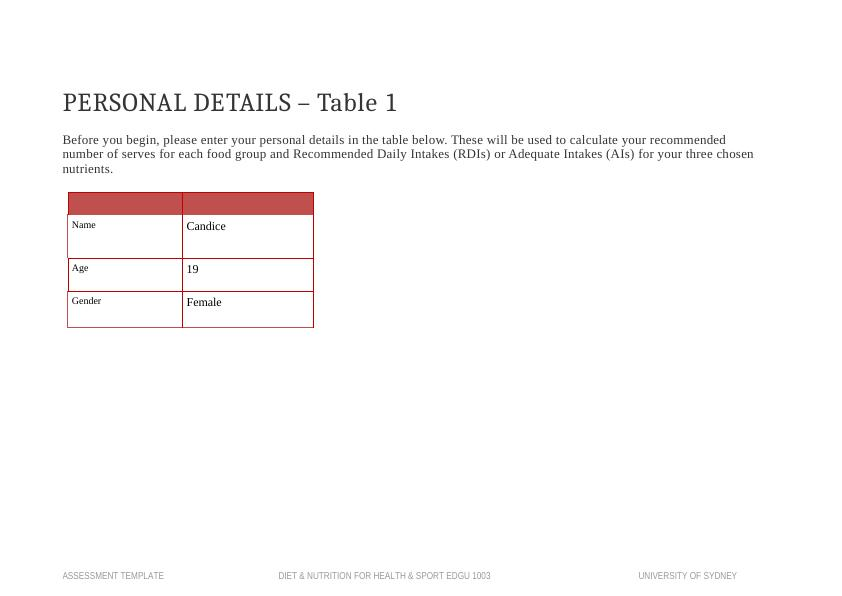 Dietary Intake Assessment Template PDF