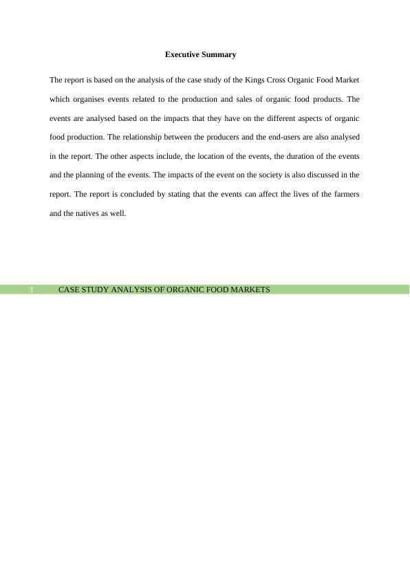PHY1008 Analysis of Organic Food Market