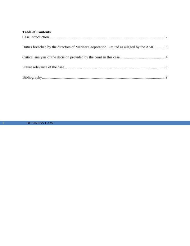 Business Law Assignment - Mariner Corporation Limited