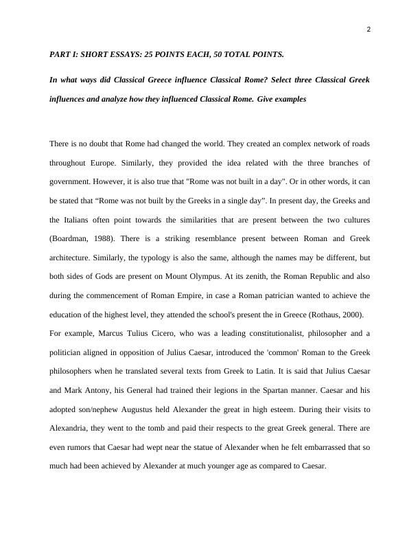 Essay on Classical Greece Influence Classical Rome