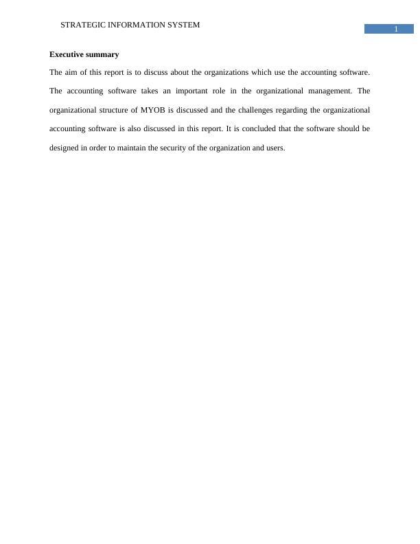 Strategic Information System | Report