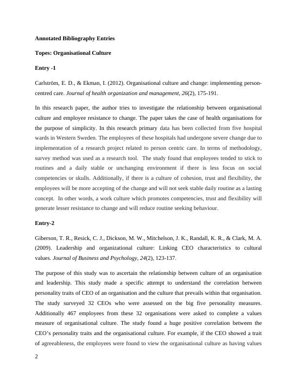 Organisational Behaviour - Annotated Bibliography