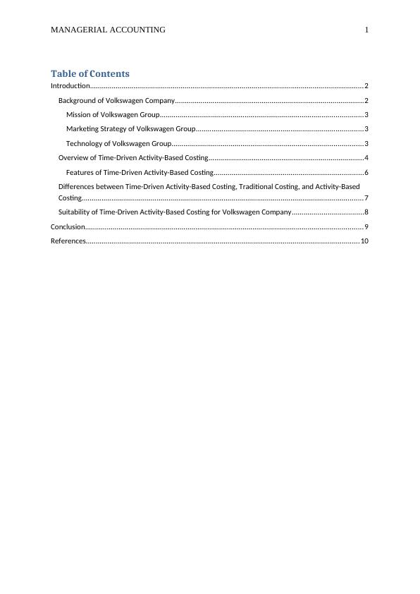Managerial Accounting Assignment  | Volkswagen Group