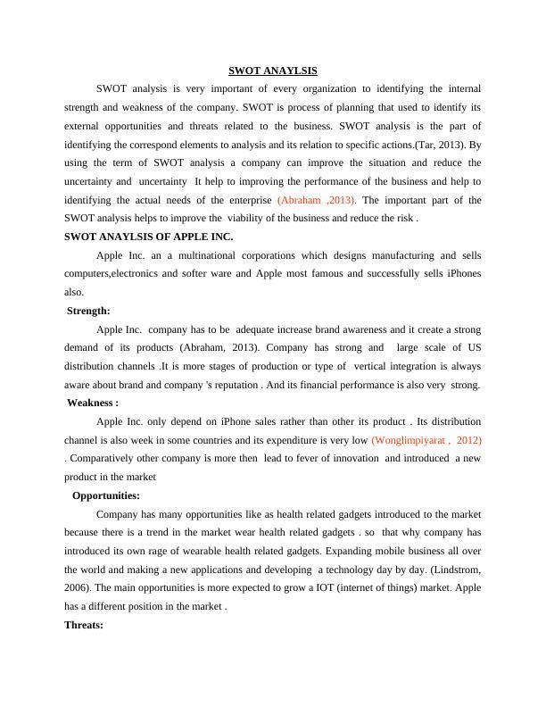 SWOT Analysis of Apple Inc : Report