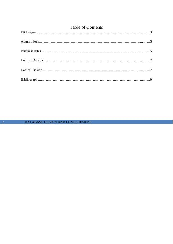 Database Design And Development  -  Assignment