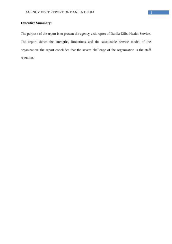 Agency Visit Report Of Danila Dilba Health Service