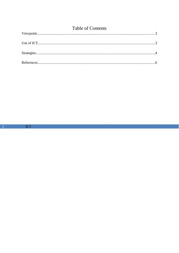 ICT (Information and Communication Technology) : Assignment